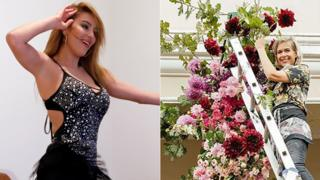 L: Tunisian belly dancer Nermine Sfar; R: A florist at Huis Vergenoegd Old Age Home in Paarl, South Africa