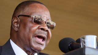 Malawi's President Peter Mutharika addresses guests during his inauguration ceremony in Blantyre, Malawi, May 31, 2019