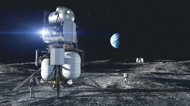 An artist's conception shows Blue Origin's Blue Moon lander, equipped with an ascent module built by Lockheed Martin. (Blue Origin Illustration via NASA)