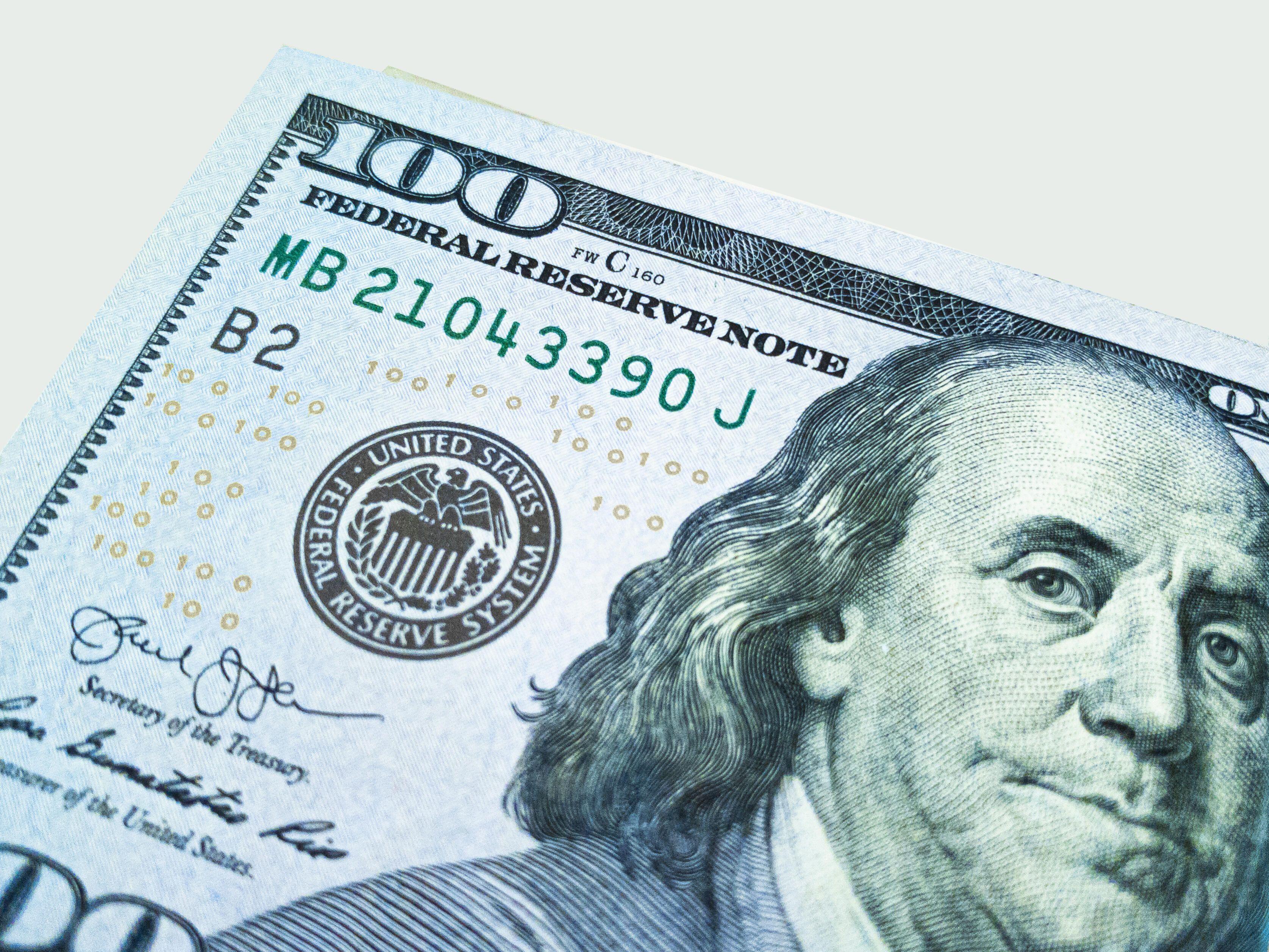 100 dollar bill with Ben Franklin's head