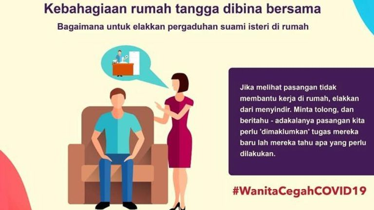 This poster says women should not be sarcastic if they are not getting help with the housework