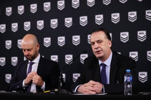 Former NRL CEO Todd Greenberg and ARLC chair Peter V'landys