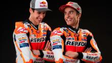 The Marquez brothers in Repsol Honda leathers at the 2020 team press launch