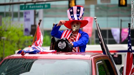 Protestors in vehicles demand reopening of Pennsylvania during a rally in Philadelphia on May 8.