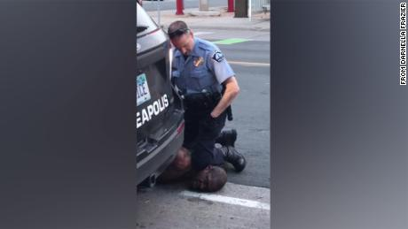George Floyd on the ground during his arrest in Minneapolis this week. He died a short time later.