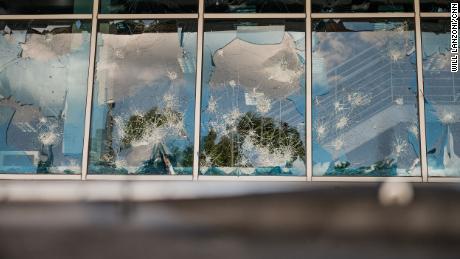 Smashed exterior windows at CNN Center in Atlanta on May 30.
