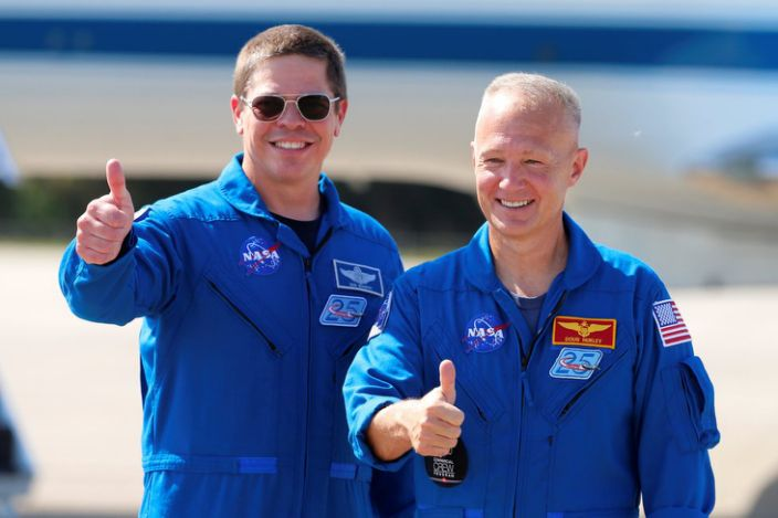 Bob Behnken (L) and Doug Hurley arrived in Florida on 20 May to prepare for launch