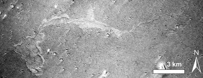 A suggested mud flow on Mars spied from orbit. A geologist on the ground could tell for sure