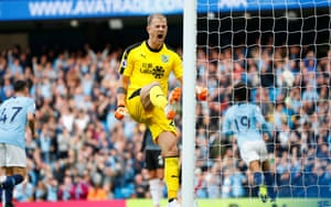 Hart shows his frustration after Leroy Sane scores for Manchester City against Burnley in October 2018