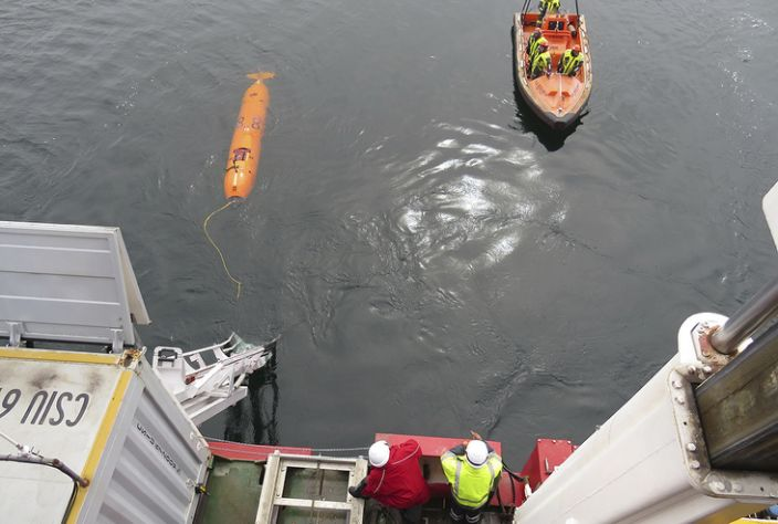 The AUVs flew just 60m above the seafloor in about 500m of water