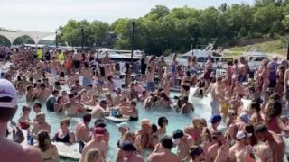 Revellers party at Osage Beach of the Lake of the Ozarks, Missouri. Photo: 23 May 2020