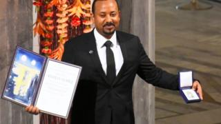 Abiy Ahmed collecting the Nobel Peace Prize