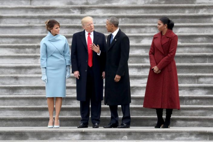 """<span class=""""element-image__caption"""">Trump and his wife Melania with Barack and Michelle Obama at the inauguration in January 2017.</span> <span class=""""element-image__credit"""">Photograph: Rob Carr/Getty Images</span>"""