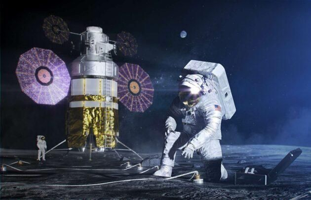 An artist's conception shows astronauts conducting a mission on the moon. (NASA Illustration)
