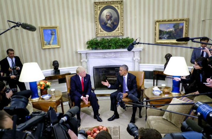 """<span class=""""element-image__caption"""">U.S. President Barack Obama, right, speaks as U.S. President-elect Donald Trump listens during a news conference in the Oval Office of the White House in Washington, D.C., U.S., on Thursday, Nov. 10, 2016.</span> <span class=""""element-image__credit"""">Photograph: Pete Marovich/Bloomberg via Getty Images</span>"""