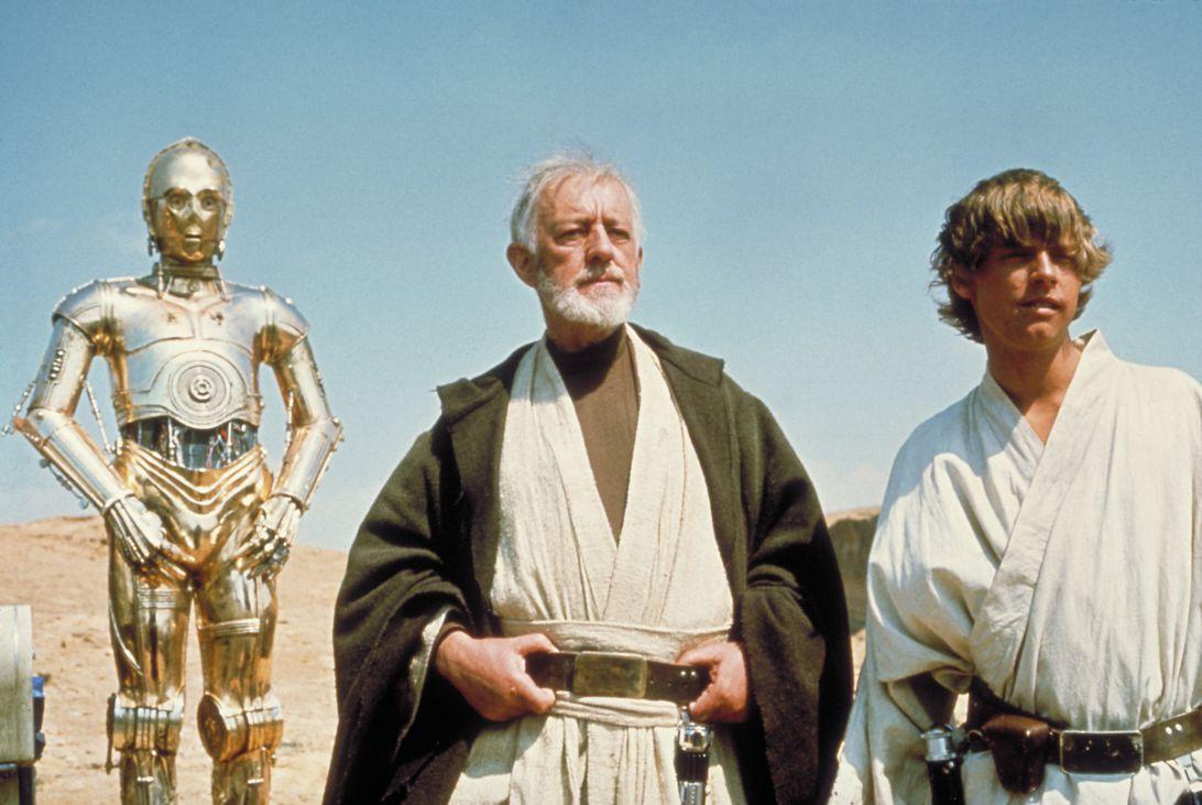 C-3PO, Obi-Wan Kenobi and Luke Skywalker