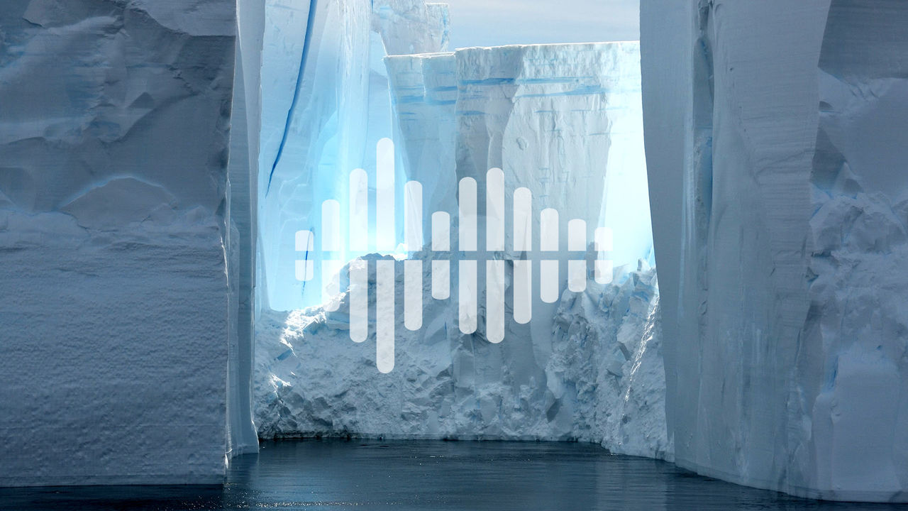 glacier with podcast symbol overlay