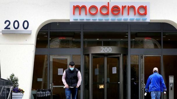 PHOTO: People come and go outside Moderna headquarters in Cambridge, Mass., May 8, 2020. (Maddie Meyer/Getty Images)