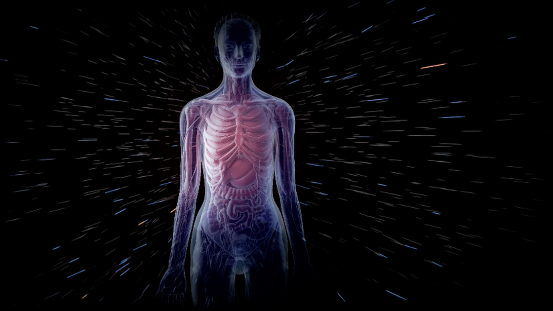 Illustration of radiation passing by a human body