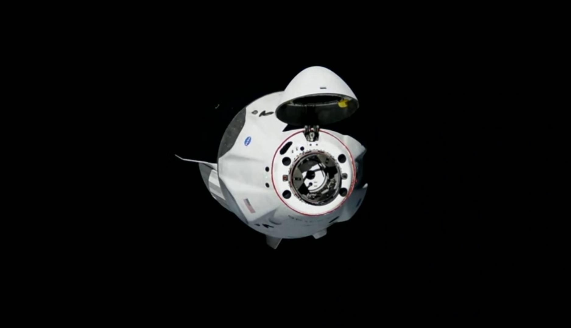 SpaceX's Crew Dragon is shown here minutes before docking with the International Space Station.