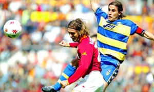 Parma captain Fabio Cannavaro contests a header against Roma's Gabriel Batistuta in 2002.
