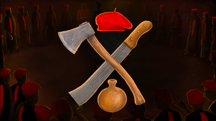 Illustration with axe, machete, beret and calabash insignia of a Nigerian cult