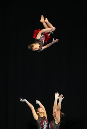 Erin Brooks, Zarie Dawson and Aimee Chalk of New South Wales compete in the ACR Senior Acrobatic Gymnastics during the 2019 Australian Gymnastics Championships at Melbourne Arena on June 02, 2019 in Melbourne, Australia.