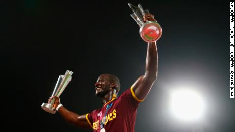 Sammy celebrates winning the ICC World Twenty20 tournament after beating England in the final.
