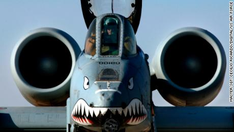 A US Air Force A-10 attack jet is pictured in Iraq in 2004. The Flying Tigers iconic nose art lives on the A-10 fleet.