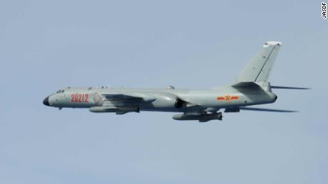 Chinese H-6 bomber photographed by Japanese fighters on June 28, 2020.