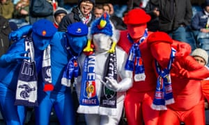 French rugby fans get dressed up for their game against Scotland at Murrayfield earlier this year.