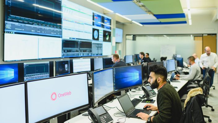 The OneWeb HQ in west London has a control room to monitor and command satellites