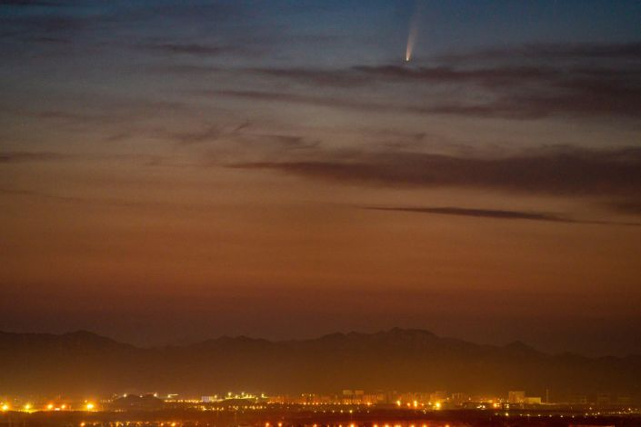 Comet Neowise observed from Beijing, China on July 7, 2020. / Credit: Costfoto/Barcroft Media via Getty Images