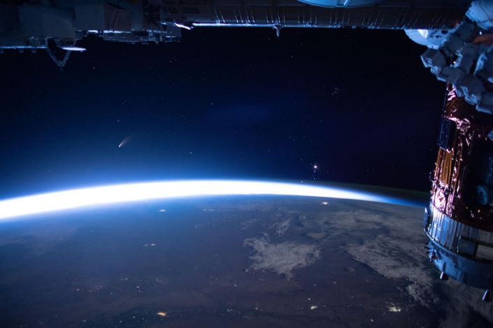 Neowise is seen from the International Space Station on July 5. / Credit: NASA, ISS Expedition 63