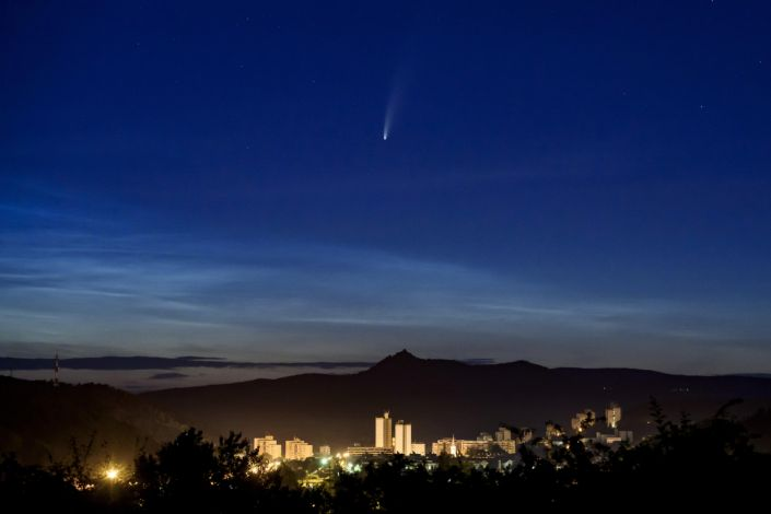 The Comet NEOWISE or C/2020 F3 is seen above Salgotarjan, Hungary, early Friday, July 10, 2020. / Credit: Peter Komka/AP