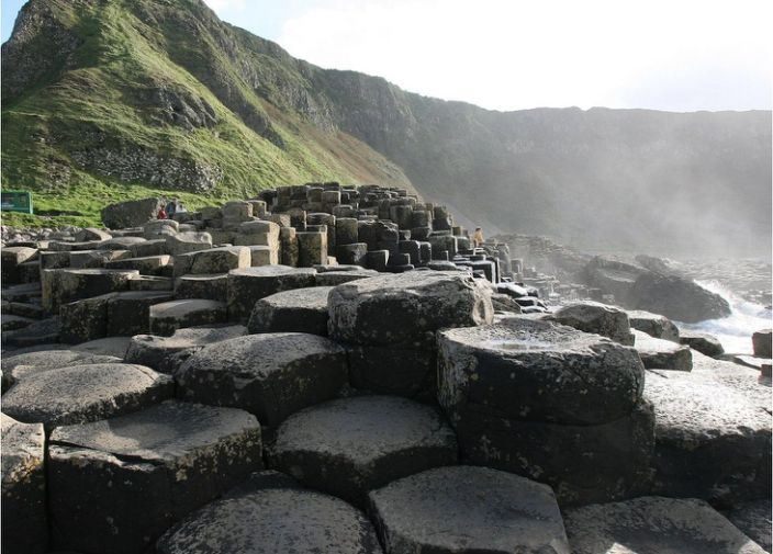 Giant's causeway: The World Heritage site is made from columns of basalt rock