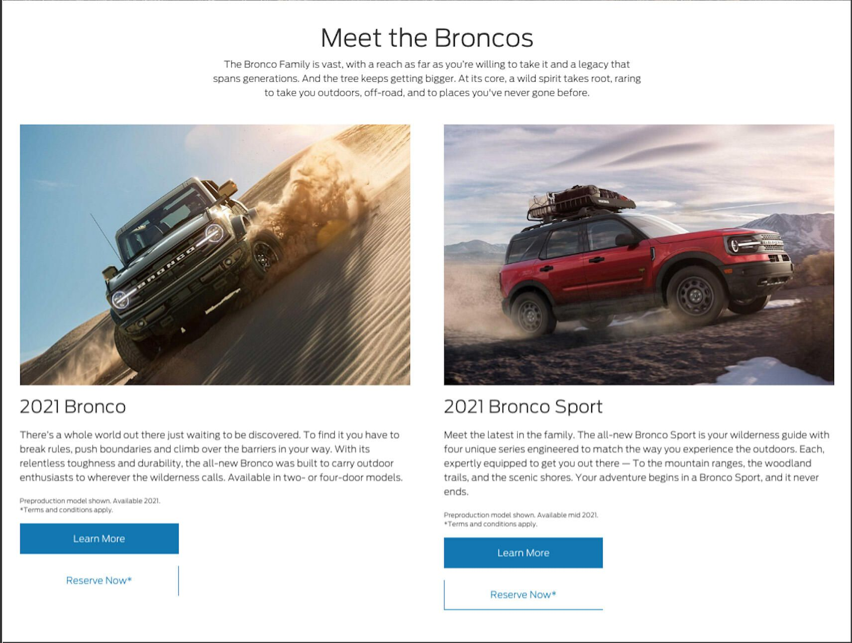Ford Bronco and Bronco Sport reservation configurator screen
