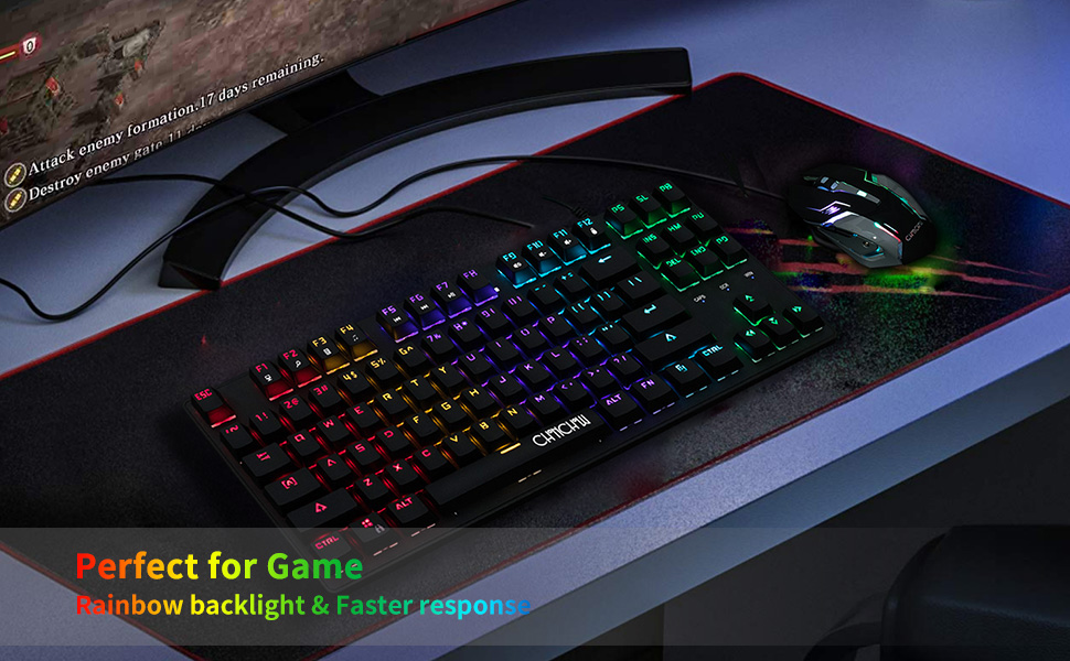 rgb mechanical gaming keyboard blue switch led backlit rainbow compact small 60% ps4 pc xbox mac