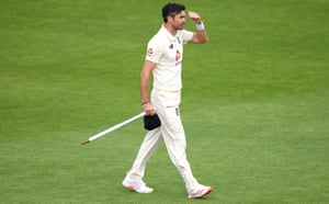 Jimmy Anderson takes the stump after the final day of the third Test in Southampton.