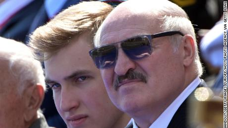 Belarus President Alexander Lukashenko with his son Nikolai (left) during the Victory Day military parade on June 24 in Moscow.