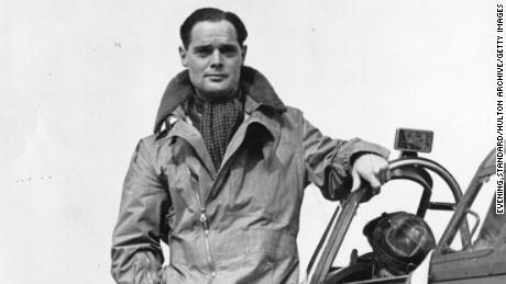 British fighter pilot Douglas Bader pictured on his plane in October 1940.
