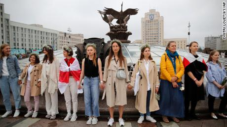 Demonstrators take to the streets in Minsk and other cities, keeping up their demand for the resignation of the nation's leader Alexander Lukashenko.