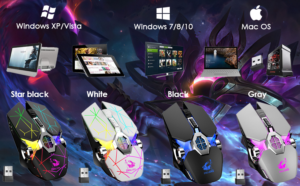 wireless gaming mouse with wide compability