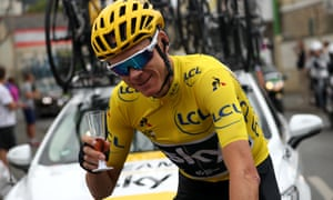 Chris Froome celebrates winning his fourth Tour de France in 2017 with a glass of champagne