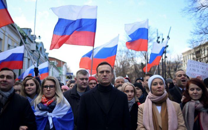 Russian opposition leader Alexei Navalny, his wife Yulia, opposition politician Lyubov Sobol - KIRILL KUDRYAVTSEV/AFP via Getty Images