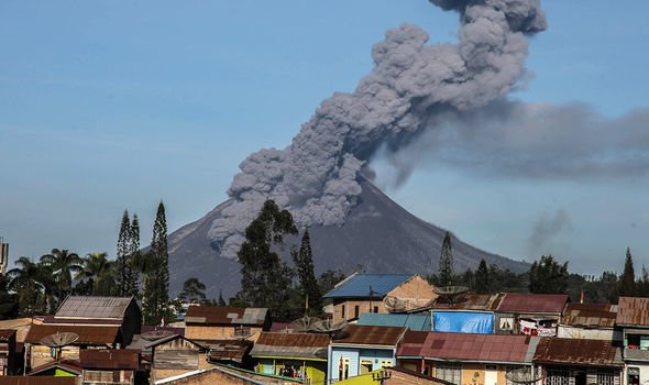 A recent volcanic eruption spewed ash into the sky