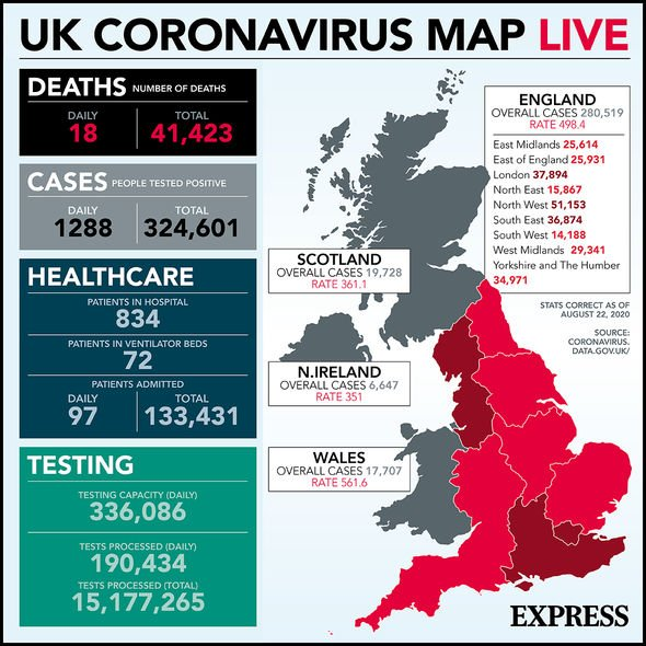 Coronavirus: UK cases as of August 22