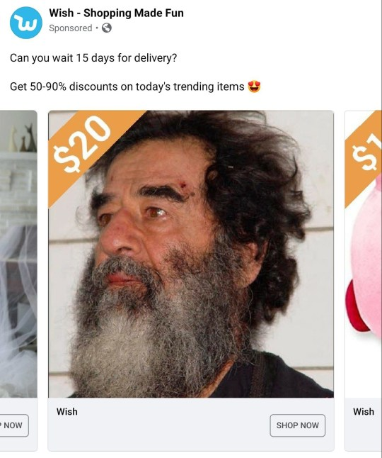 You can apparently buy Saddam Hussein on Wish