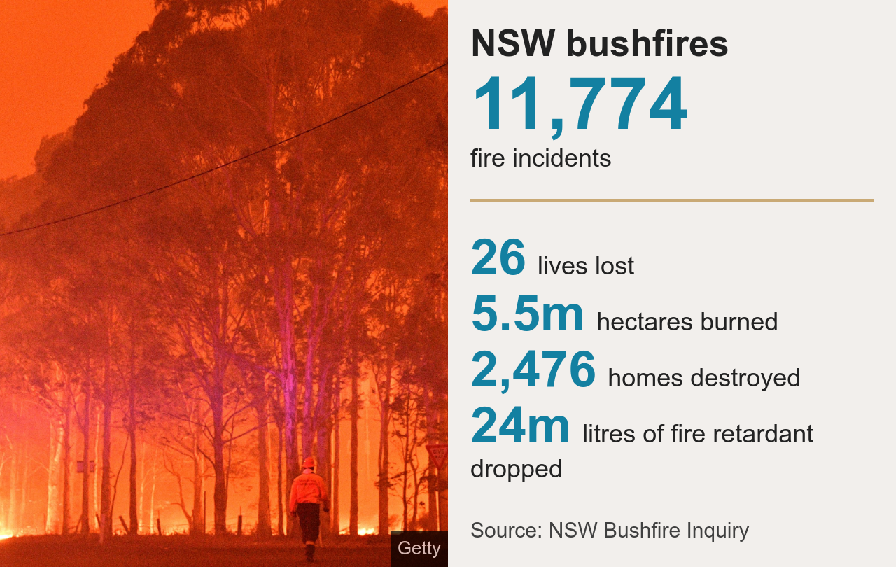 Graphic showing data from the NSW bushfires