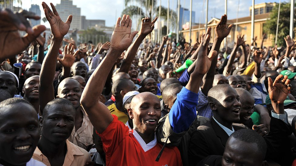 Kenyans celebrating the adoption of the new constitution in 2010